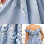 A Line Off The Shoulder Long Prom Dress With Floral Formal Dresses
