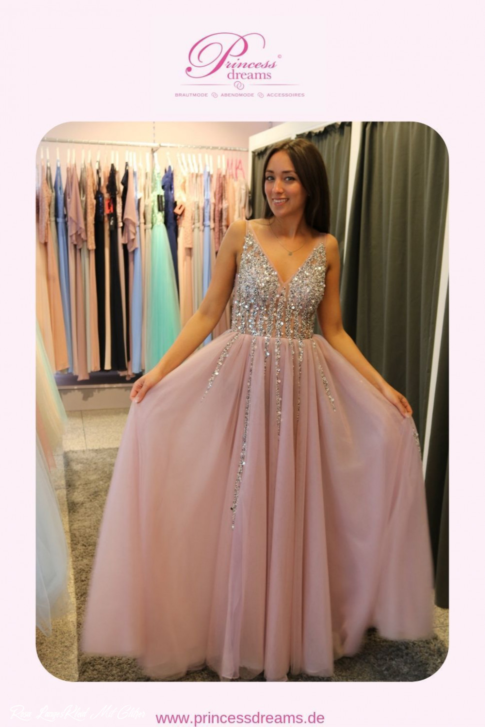 abiballkleid glitzer rosa bei princess dreams in berlin in 12