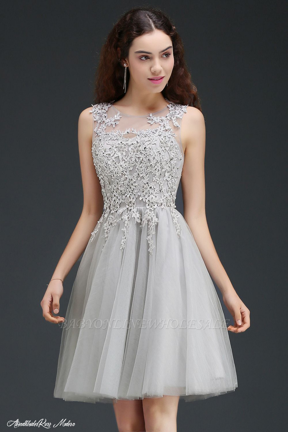 anna a line short modern homecoming dress with lace appliques
