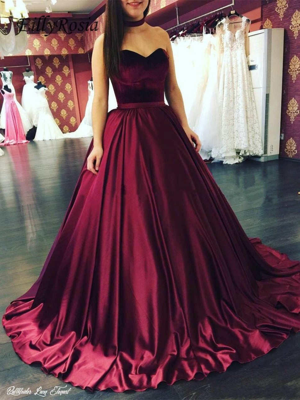 Big Discount Dark Red Satin Burgundy Prom Dresses Ball Gown Sweetheart  Sweep Train Elegant Grils Graduation Gala Dress ballkleider lang 8  October
