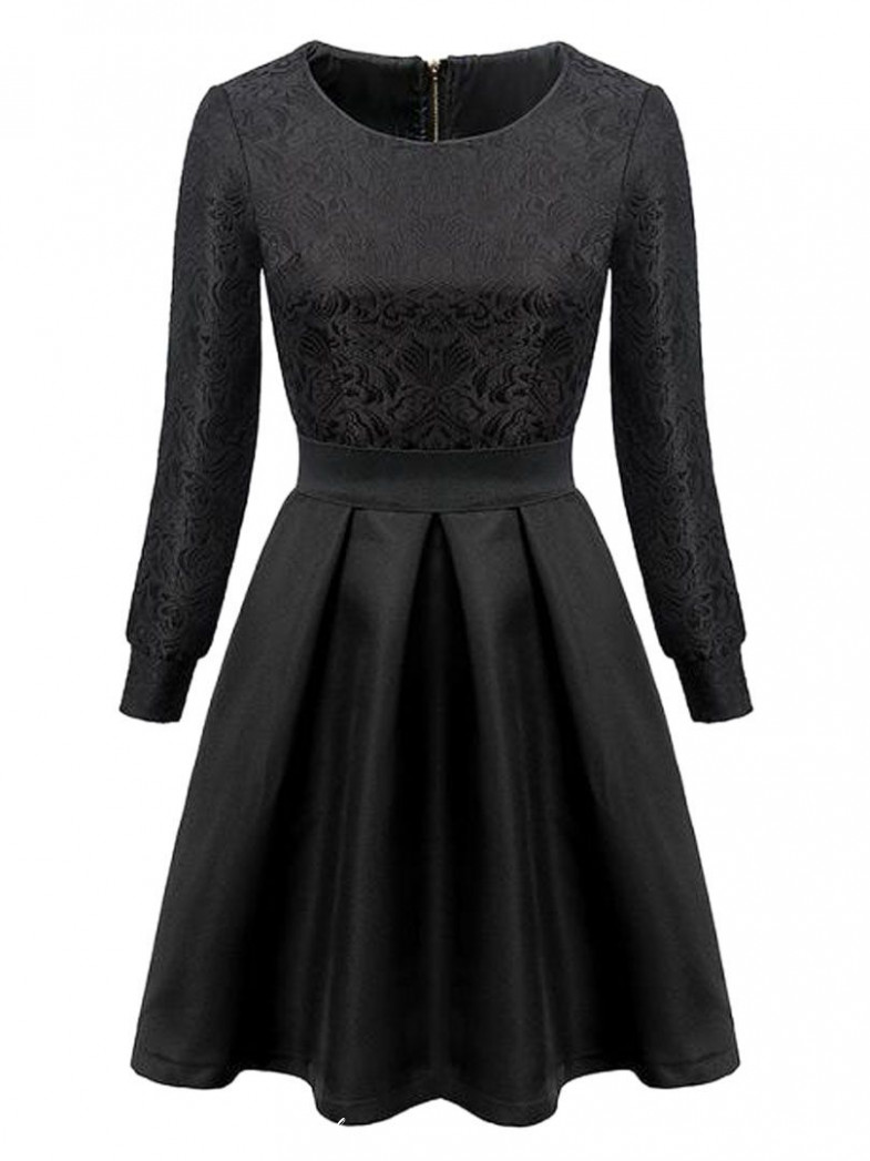 Black High Waist Lace Crochet Long Sleeve Skater Dress Kurzes