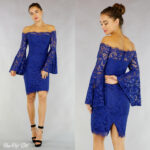 Blau Off-Shoulder-Kleid mit Spitze mit Flair