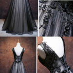 Chic A Line V Neck Floor Length Tulle Black Applique Long Prom Schwarzes Kleid Hochzeit