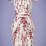 Closet London 11s Cherry Blossom Tulip Dress In Ivory Tulpe