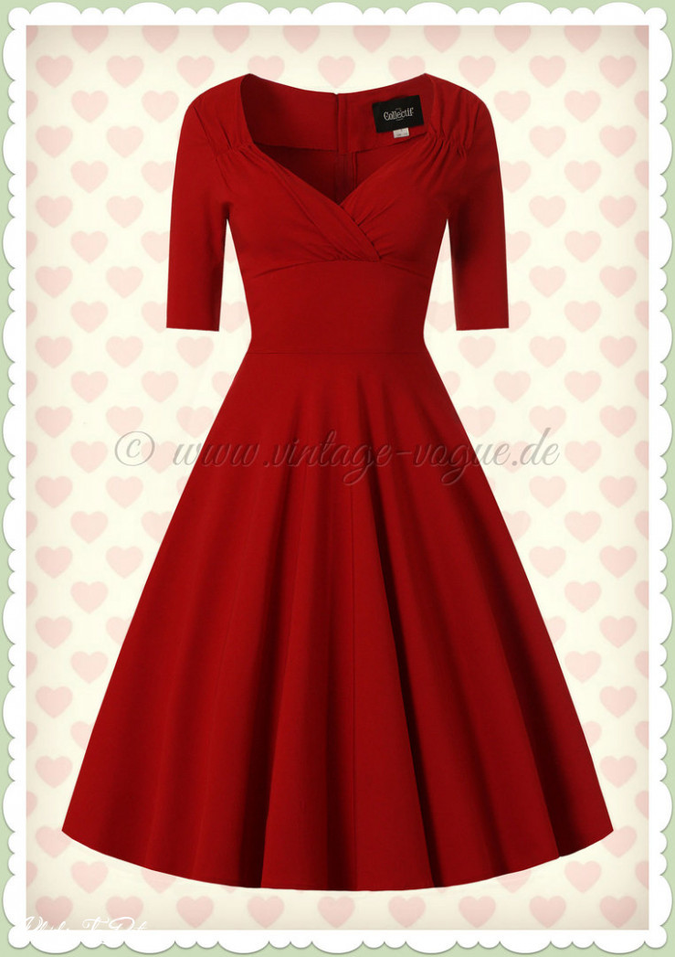 Collectif 12er Jahre Pin Up Retro Swing Kleid Trixie Doll Rot