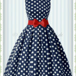 Dolly & Dotty 12er Jahre Retro Punkte Petticoat Kleid Annie Navy Blau