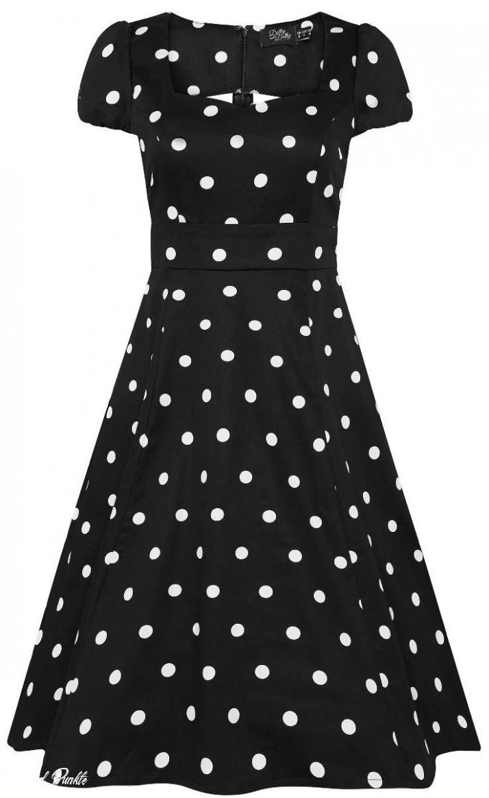 dolly and dotty claudia polka dot punkte swing kleid dress schwarz weiß
