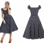 Dolores Doll Dress Blau Weisse Punkte Collectif