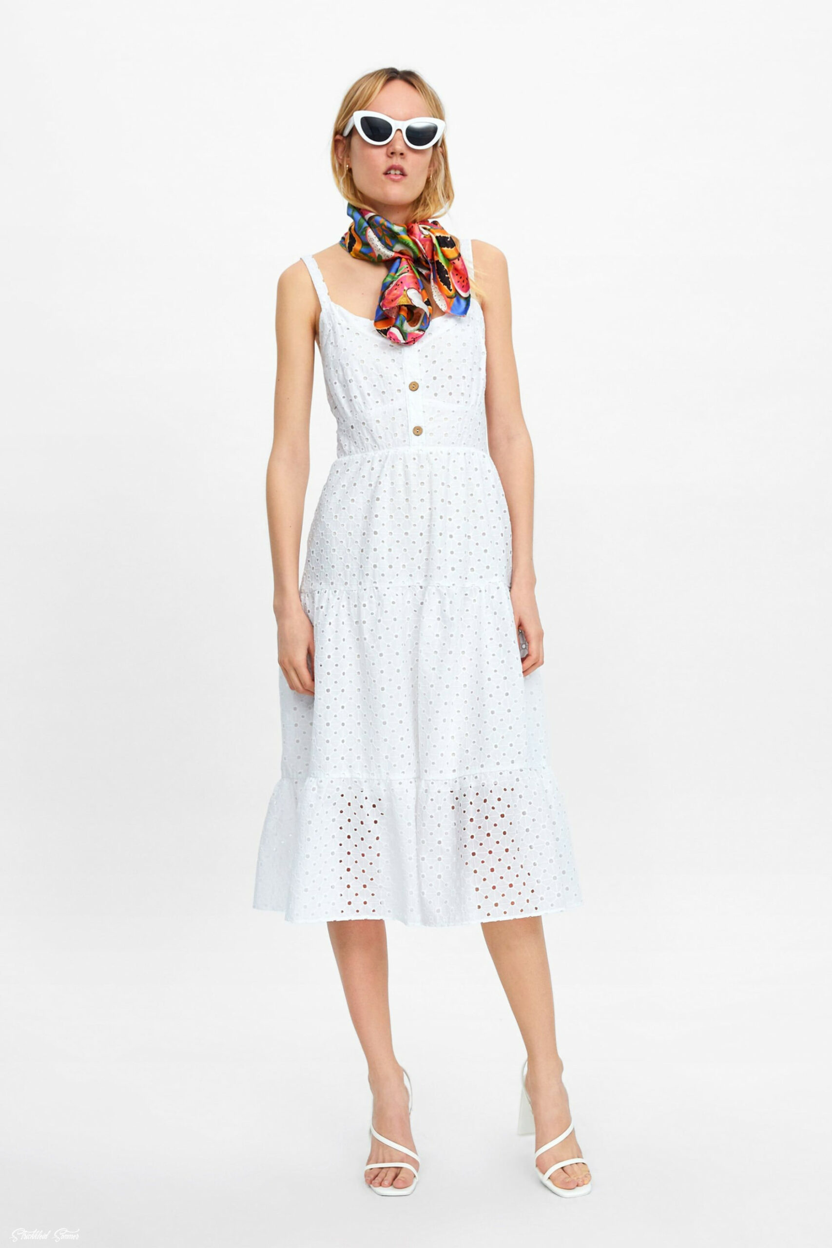 dress with cutwork embroidery floral dress casual, embroidered