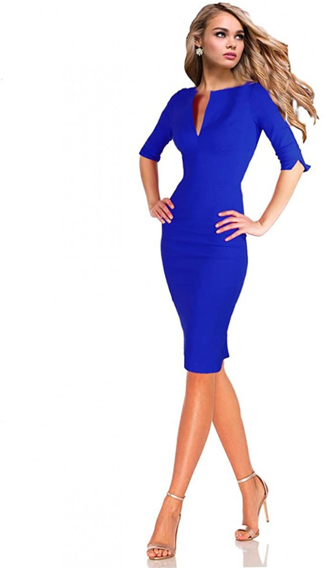 drezz10imprezz businesskleid etuikleid 10/10 arm knielang blau