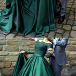 Elegant Long Sleeves Green Evening Dresses,vintage Off The