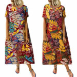 Frauen Kleid Damen Strand Sommer Kurzarm Vintage Mode Party Kleid