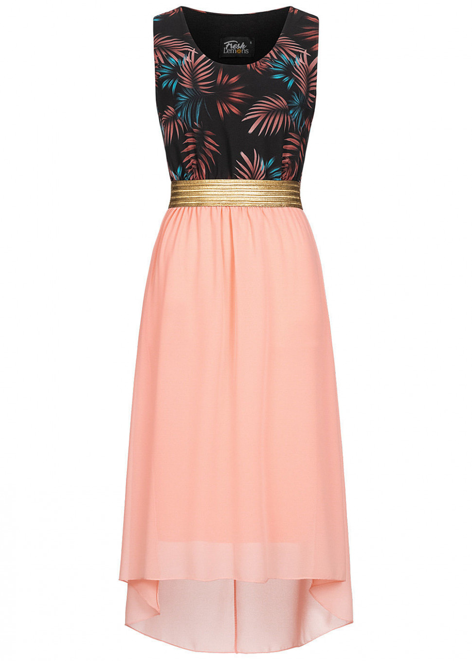 Fresh Lemons Damen 11-Tone Maxi Kleid Tropical Print schwarz rosa gold