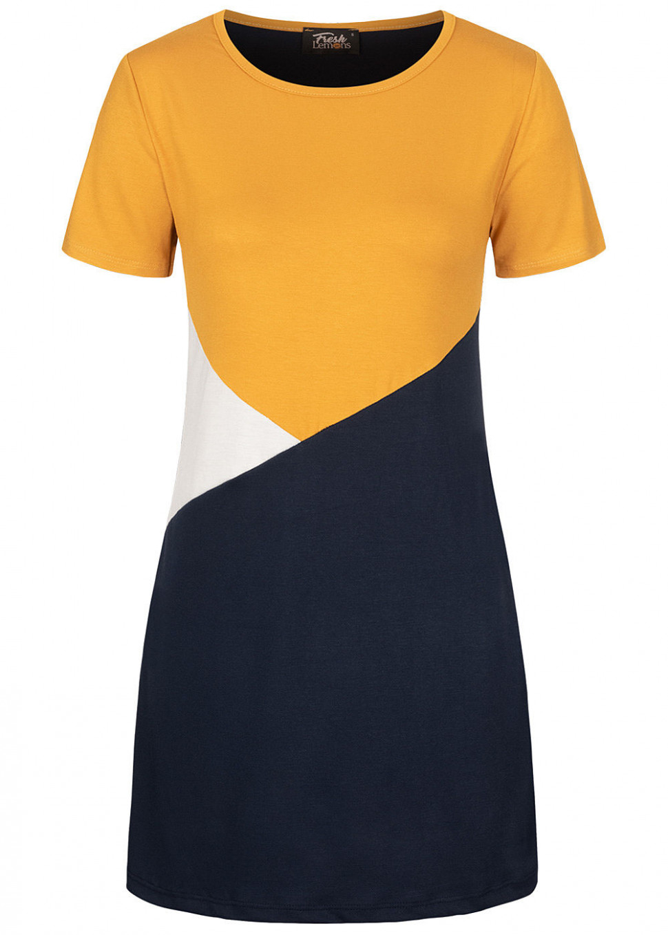 Fresh Lemons Damen Colorblock Mini T Shirt Kleid Gelb Weiss Blau