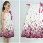 Girls Linen Dress With Underdress Straighteny Dress Flower