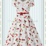 Hearts & Roses 10er Jahre Vintage Petticoat Kleid Cherry On Top Weiß Rot