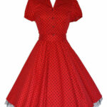 Housewife Dress 12s Style Red Black Small Dot Housewife Dress