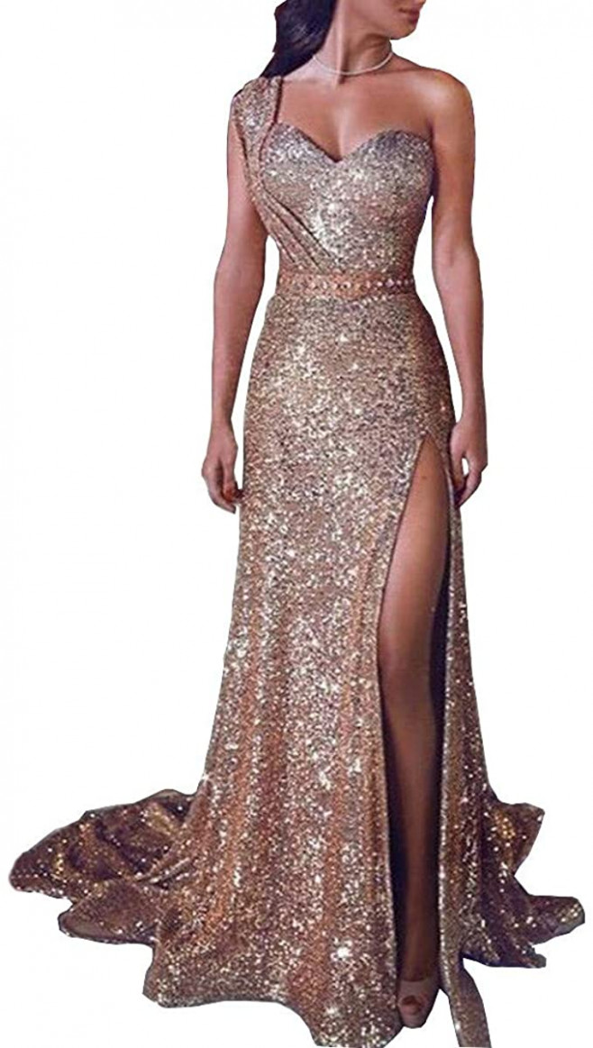 icerber damen pailletten party ballkleid sexy gold abend