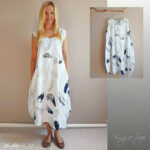 Italy Sommer Kleid Lagenlook / Casual Dress Lose Outfits Leinen