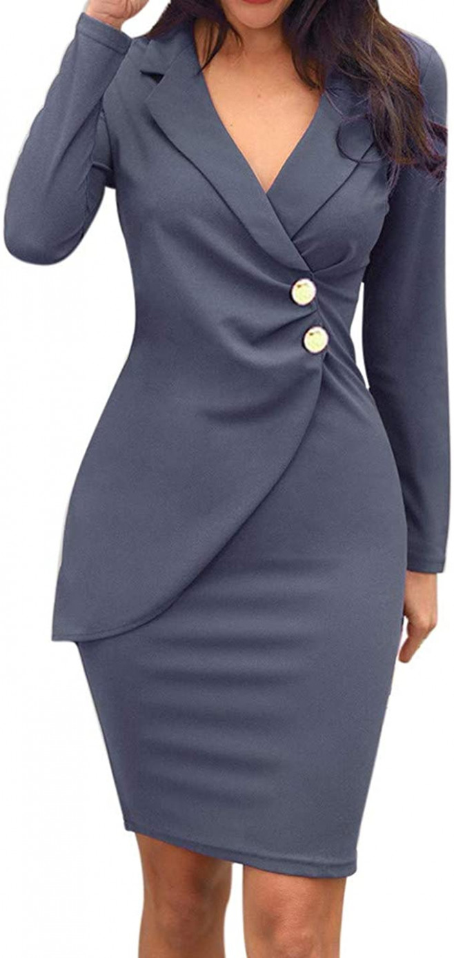 jxq n business kleid damen bodycon pencil kleid etuikleid elegante v kragen flouncing party kleid marine stil hochzeit cocktailkleid stretch kleid
