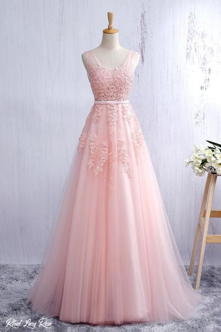 Lace Applqiued Pink Tulle Ball Gown, Long Prom Dress For Teens