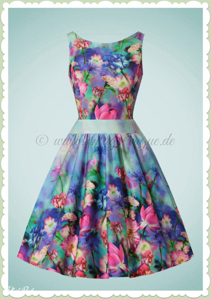 lady vintage 11er jahre retro vintage blumen kleid tea dress bunt