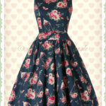 Lady Vintage 12er Jahre Vintage Retro Blumen Kleid Tea Dress Navy Blau