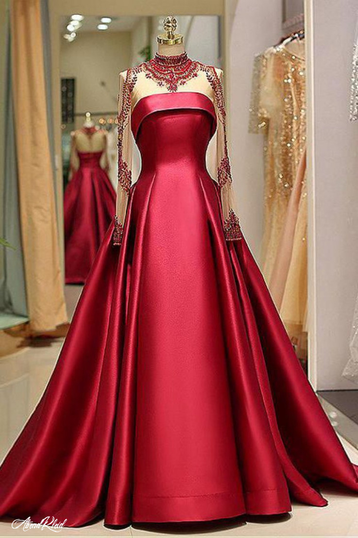 langarm abendkleider high neck burgund langes abendkleid satin abendkleid ak11