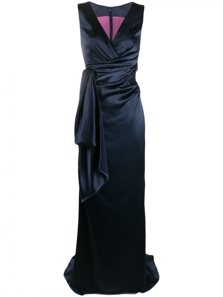 layered gown in blue