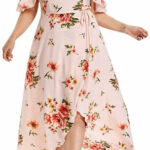 Longra Sommerkleider Damen Blumen Maxi Kleid Off Shoulder Abendkleid Strandkleid Party Schulter Kleider Festliche Elegant Kleid Plus Size Damen