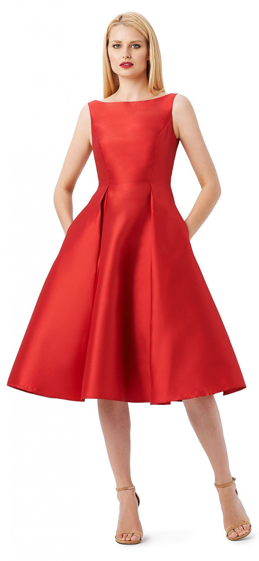 luxe and elegant, this beautiful mikado fit and flare midi dress