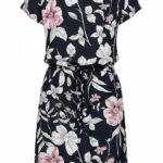 ONLY Damen Kleid Blumen Print 9-Pockets Taillenzug night sky navy