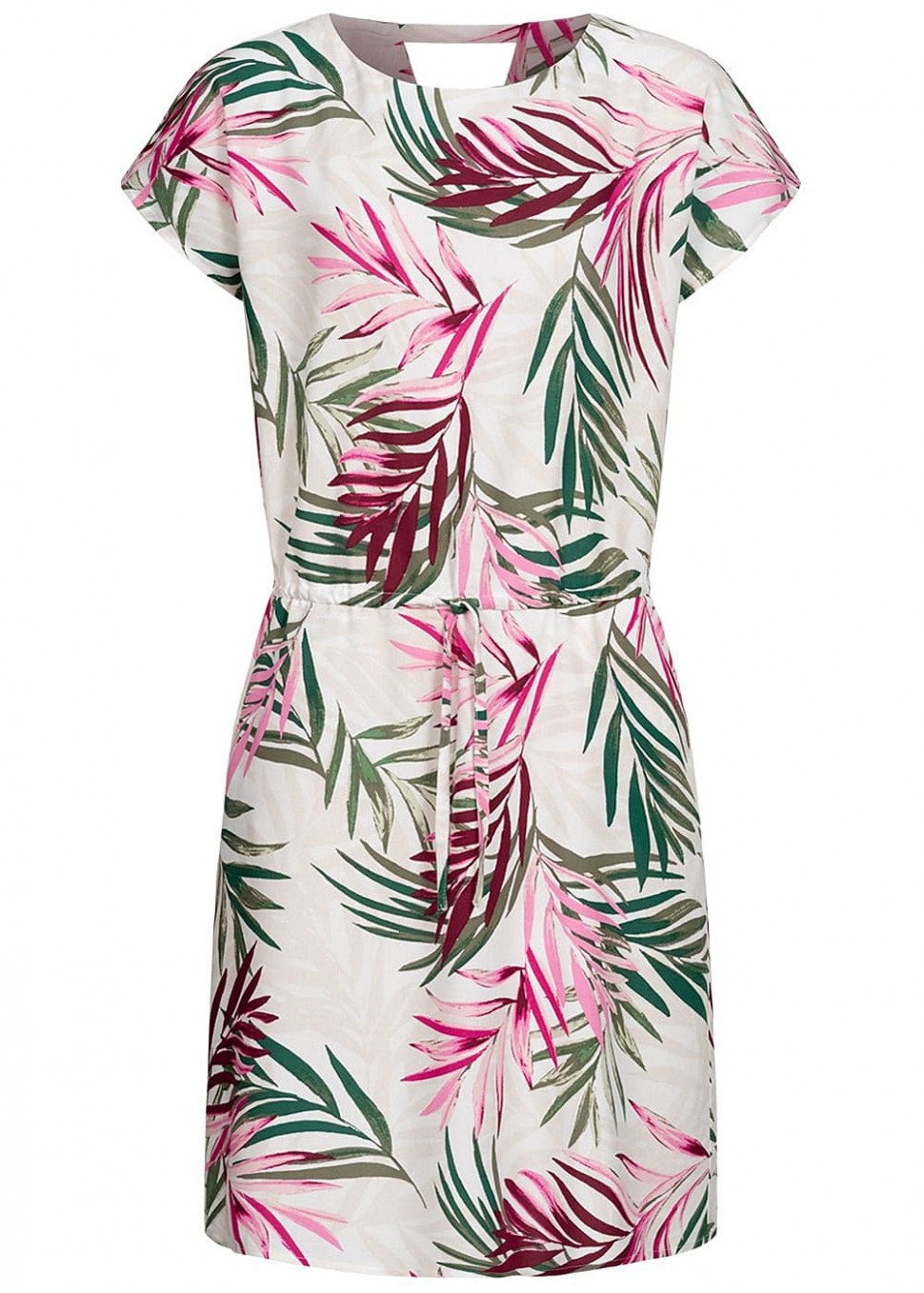 only damen kleid taillenzug 11 pockets tropical print cloud dancer