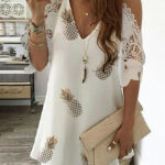 Pineapple Print Cold Shoulder Crochet Lace Dress In 11 Casual