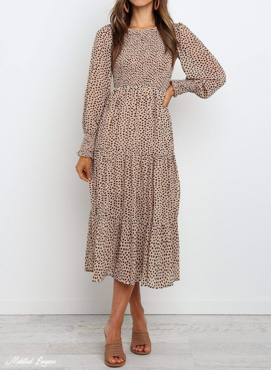 Round Neck Long Sleeve Tiered Midi Dress In 12 Beige Dresses