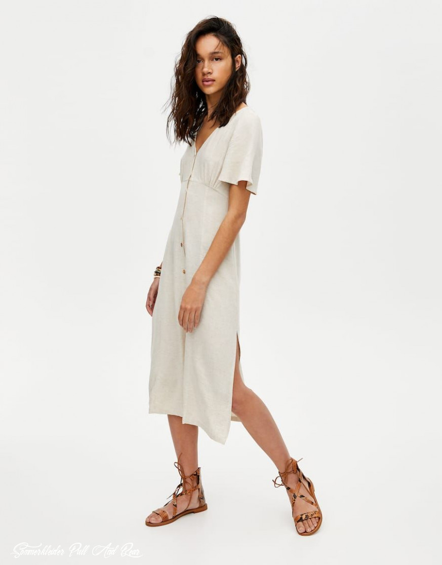 Rustic Midi Dress With Buttons Pull&bear Tuch, Rustikale