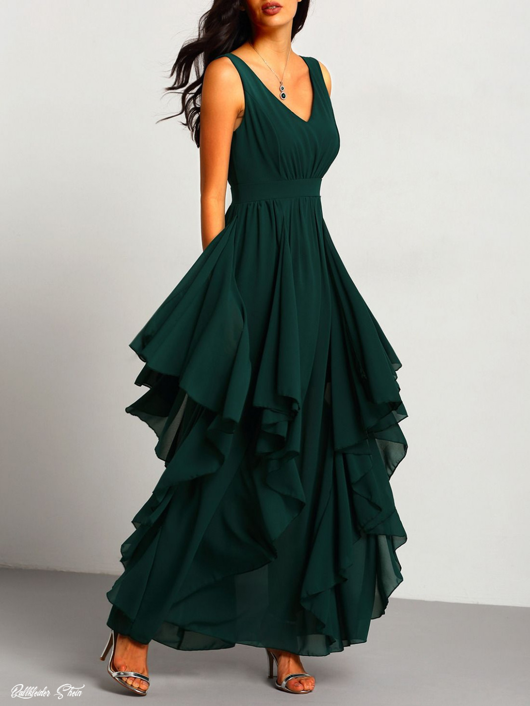 shop green deep v neck maxi chiffon dress online