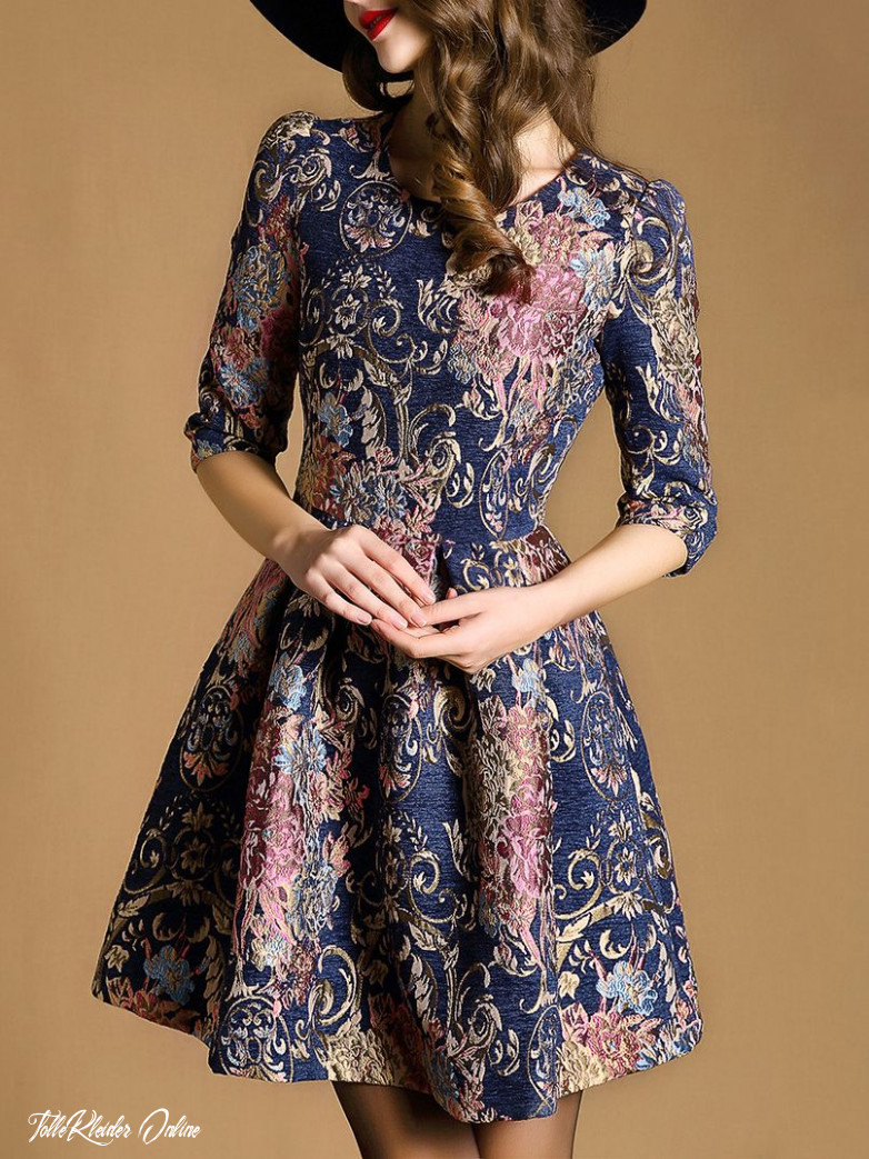 Shop Multicolor Round Neck Half Sleeve Embroidered Dress Online
