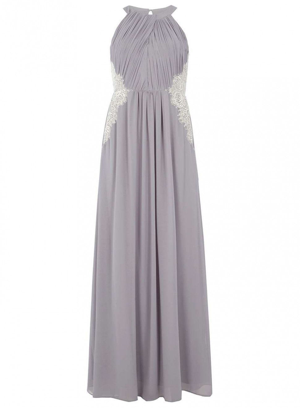 showcase grey halter neck lace maxi dress abend und