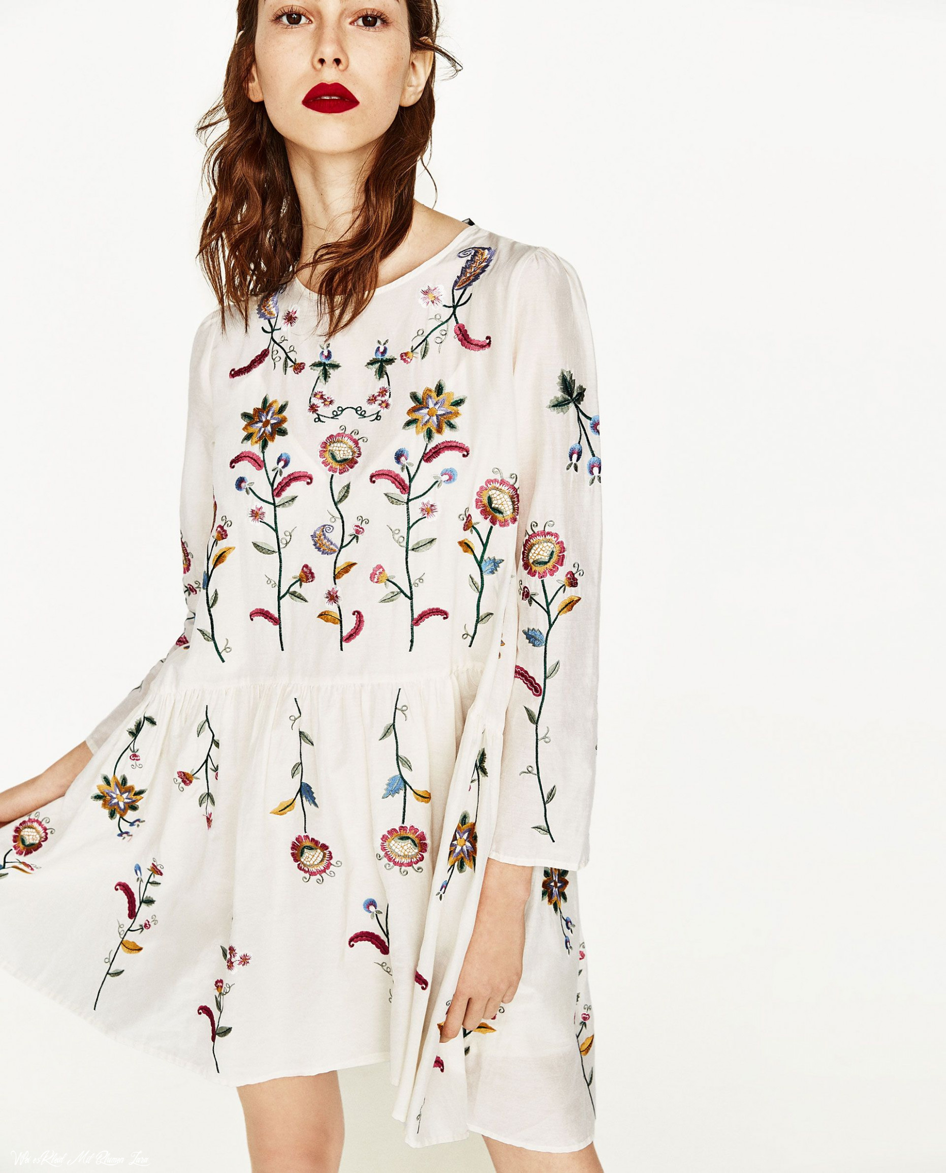 silk dress with flowers embroidery boho kleidung, weißes kleid