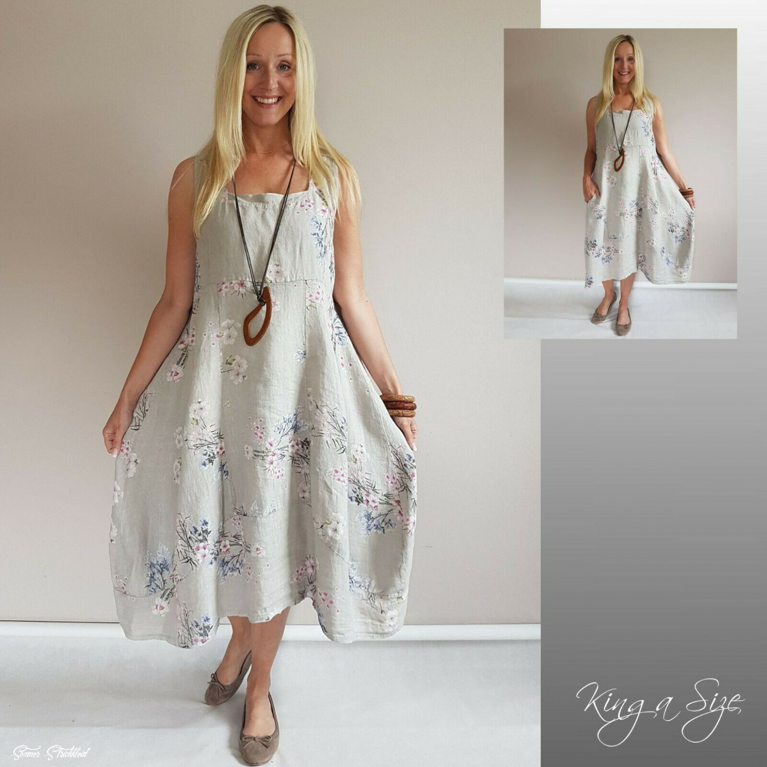 sommer kleid lagenlook / casual dress lose outfits leinen gr