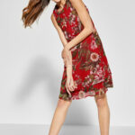 Street One Print Kleid Im Lagen Look In Vivid Red