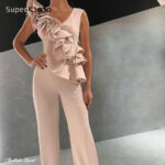 Superkimjo Pink Jumpsuits For Weddings 12 Feather Elegant Modest V Neck Pants For Women Evening Party Dress Abendkleider 12