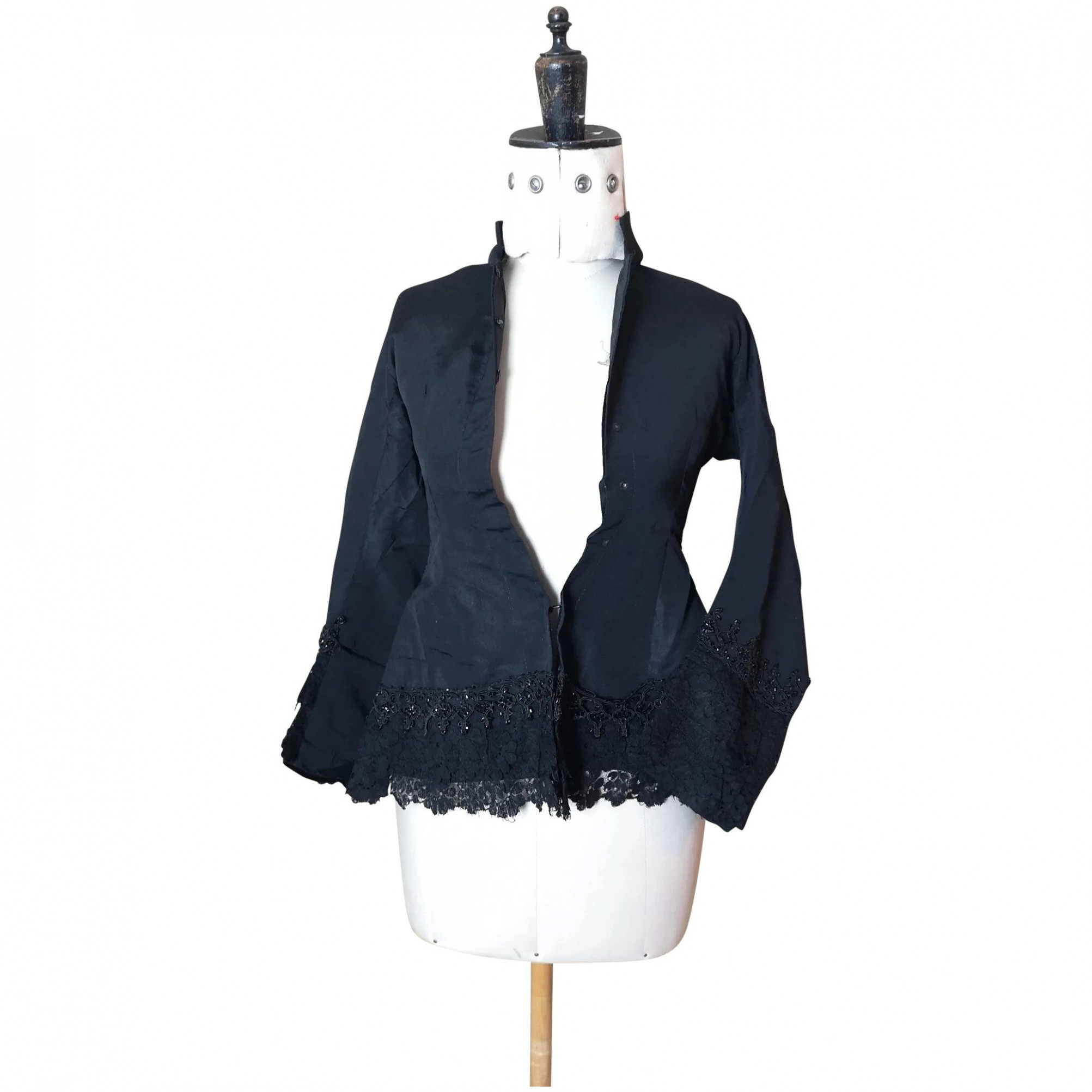victorian black silk mourning blouse, jet and lace black silk