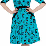 Voodoo Vixen Kitty Umbrella Cat Vintage Pin Up Swing Kleid Türkis