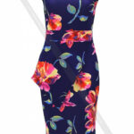 Watercolour Floral Print Asymmetrical Wrap Bodycon Dress K10