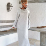 Winter Wool Boucle Turtleneck Maxi Dress / Winter Warm Long Etsy