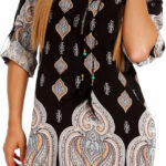 Young Fashion Damen Tunika Hippie Minikleid Tunikakleid Mit Zipper Ausschnitt Strandkleid Aus 12% Viscose