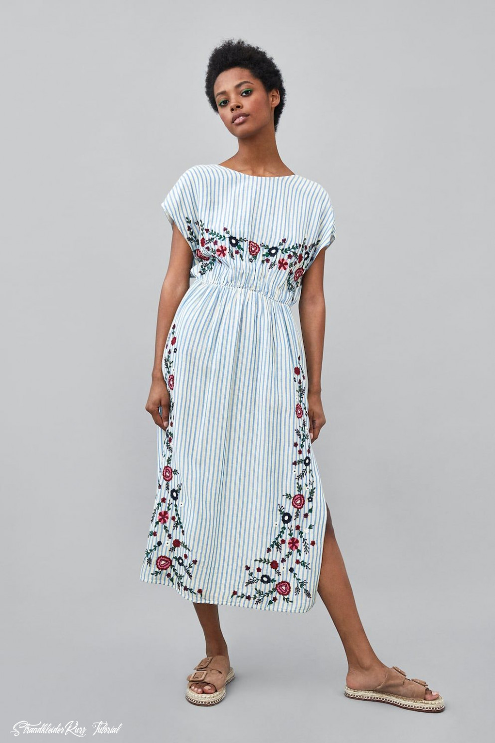 Zara Woman Striped Floral Dress Sommerkleid Kurz